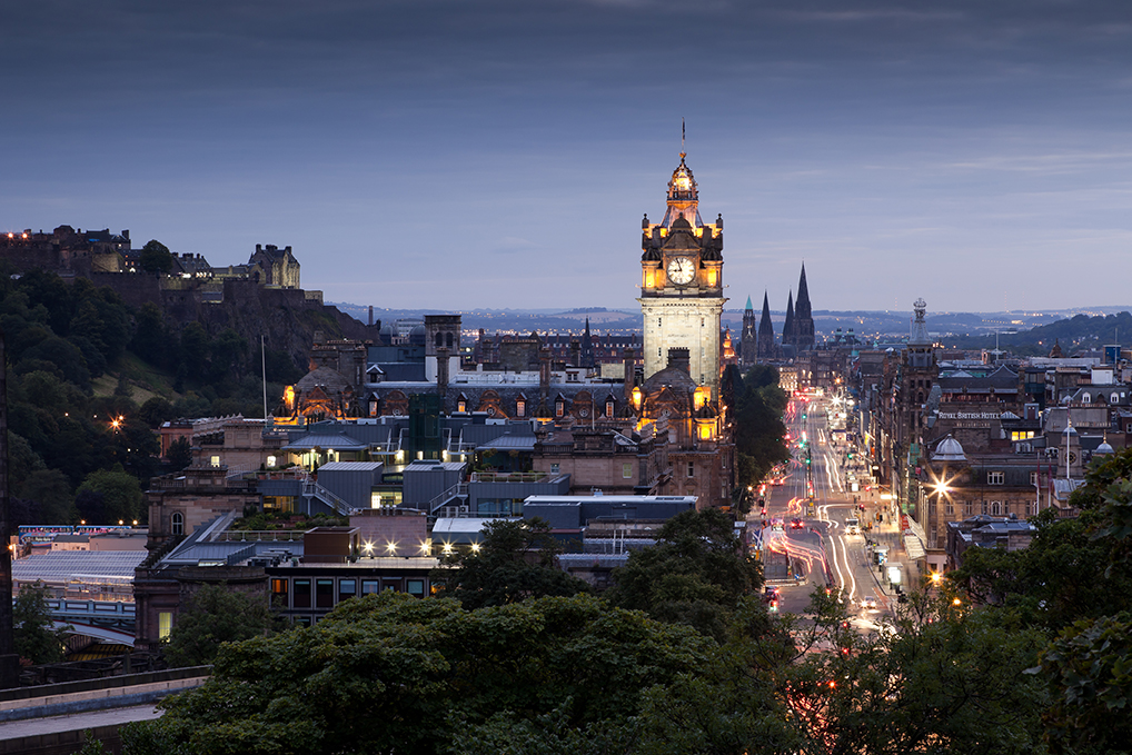 Evening cityscape of Edinburgh, Scotland, UK